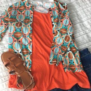 Orange, mint, and teal cardigan 3/4 sleeve